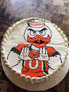 University of Miami Hurricanes cake, made by me.