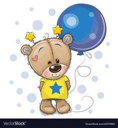 Cute Cartoon Teddy Bear with Balloon. Greeting card Cute Cartoon Teddy Bear with blue balloon vector illustration Tatty Teddy, Cartoon Whale, Cute Cartoon Animals, Cute Animals, Cartoon Panda, Unicorn Outline, Cartoon Mignon, Chibi Kawaii, Owl Vector