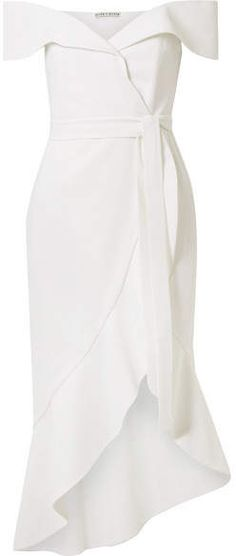 #affiliatead -- Alice + Olivia Alice Olivia - Josie Off-the-shoulder Wrap-effect Crepe Dress - White -- #chic only #glamour always
