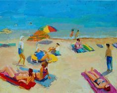 """Kathleen Elsey, """"At the Beach, Mediterranean.""""Kathleen Elsey is a founding member of the New Fauves, an internationally based organization of artists who have embraced the colorist principles of the French Fauves and German Expressionists. For more information on Elsey or this painting, call Kamp Gallery at 847-441-7999. Beach Canvas, Fauvism, Color Pairing, Saturated Color, Henri Matisse, Beast, Fine Art, Gallery, German"""