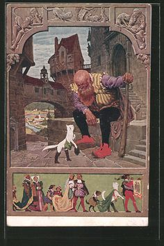 "Alte Ansichtskarte: Künstler-AK Paul Hey: Märchen ""Der gestiefelte Kater"", gerahmt Wow Art, Peter Pan, Fairy Tales, Folk, Graphic Design, Gd, Postcards, Legends, Painting"