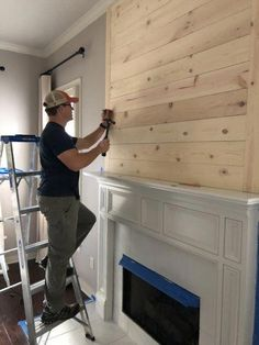 Want to turn your drab fireplace and mantel into a shiplap, farmhouse-inspired focal point? This DIY How-To is just the thing for you. decor A DIY How-To For The Farmhouse Shiplap Fireplace Of Your Dreams — She Gave It A Go Home Fireplace, Basement Remodeling, Diy Fireplace, Home Living Room, Home Diy, Farmhouse Living, Farm House Living Room, Living Room With Fireplace, Shiplap