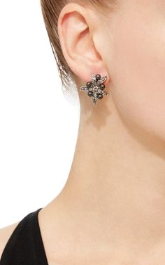 Flower Pearl Button Earrings by OSCAR DE LA RENTA Now Available on Moda Operandi