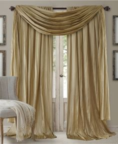 "Elrene Athena Rod Pocket 52"" x 95"" Pair of Curtain Panels with Scarf Valance, Set of 3 - Window Treatments - For The Home - Macy's"
