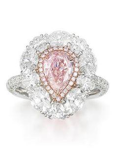 Pear shape pink diamond ring.
