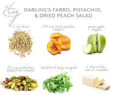 Farro, Pistachio and Dried Peach Salad Healthy Cooking, Healthy Eating, Healthy Treats, Healthy Recipes, My Favorite Food, Favorite Recipes, The Tig, Salad Ingredients, Style