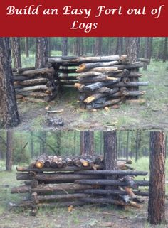 How To Build A Log Fort/Clubhouse/Cabin In the Woods                                                                                                                                                                                 More