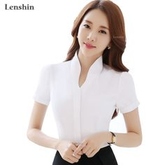 V-Neck White Shirts Short Sleeve Blouse New Fashion Tops Women Summer Style Office Ladies Formal Work Wear Korean Fashion Dress, African Fashion Dresses, New Style Tops, Formal Blouses, Business Outfits Women, Stylish Blouse Design, Dress Neck Designs, Office Ladies, Women's Summer Fashion