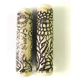 Faux Bone Scrimshaw Florals Polymer Clay Cylinder Focal Beads by DivaDesigns1.