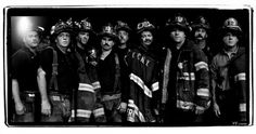 Men of Engine Company 50, Ladder Company 19—firefighters from the South Bronx—exhausted after working 12 straight hours at the site of the World Trade Center attack. Photographed outside the Javits Center, where volunteer services were being coordinated, on September 14, 2001.  Photos: Jonas Fredwall Karlsson's Signature Portraits for Vanity Fair | Vanity Fair
