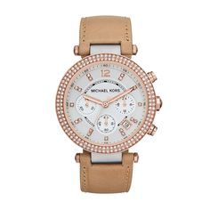 94ee6692f738 Michael Kors Mid-Size Vachetta Leather and Rose Gold and Silver Tone  Stainless Steel Parker Chronograph Glitz Watch