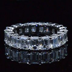 6.00 Ct. Emerald Cut Diamond Eternity Ring (Shared Prong) - Recently Sold Engagement Rings