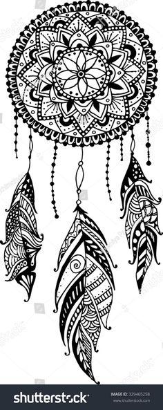 Mandala art print featuring the drawing hand-drawn mandala dreamcatcher with feathers. Mandala Art, Mandala Tattoo Design, Mandala Arm Tattoo, Mandalas Painting, Mandalas Drawing, Mandala Feather, Tattoo Designs, Henna Designs, Dream Catcher Drawing
