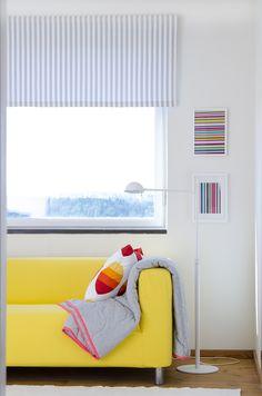 Rod pocket curtain by Bemz in Gotland Stripe Silver Grey. Klippan 2 seater sofa cover in Sun Yellow Panama Cotton. www.bemz.com