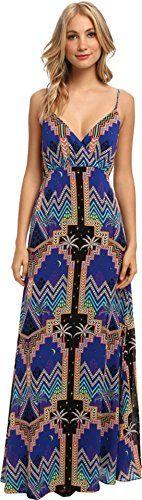 Mara Hoffman Women's Silk Crossover Maxi Dress, Pyramid Night Navy, 10, Fully lined, Cross over long slip gown