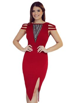 €17.36 @Modebuy #modebuy  Robe Midi Rouge Nanches Jewel Accent Strappy Casquette #eyes #liking #follow4follow #basprix #comments4comments #gros #Rose #girls #commenter #commenting #lingerie #Jaune #styles