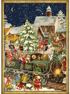Victorian Christmas Train German Advent Calendar Countdown Made in Germany for sale online Christmas Train, German Christmas, Christmas Scenes, Christmas Past, Victorian Christmas, Christmas Holidays, Christmas Decorations, Christmas Chocolate, Father Christmas