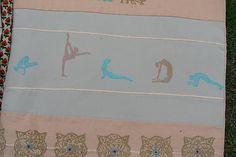 Veľká taška s motívom yoga, páv, dlaždice/lososová-béžová/