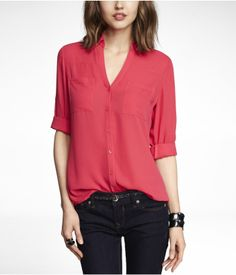 THE CONVERTIBLE SLEEVE PORTOFINO SHIRT | Express. I want all of the colors!