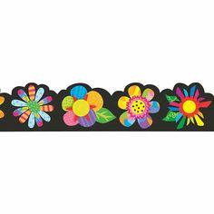 Poppin' Pattern Spring Flower Bulletin Board Borders - Discontinued Flower Bulletin Boards, Bulletin Board Borders, Colorful Flowers, Spring Flowers, Creative Teaching Press, School Frame, Board Decoration, Borders For Paper, New Classroom