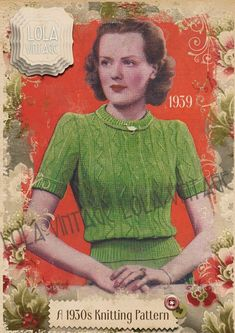 Vintage 1930s Knitting Pattern Lady's Frilled Front Jumper WW2 1940s Up to 36ins  | eBay