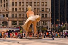 """The long-awaited 26-foot stainless steel and aluminum sculpture """"Forever Marilyn"""" by J. Seward Johnson was unveiled at 401 N. Michigan Avenue in Pioneer Plaza in Chicago, raising more than a few eyebrows...and one very large skirt."""