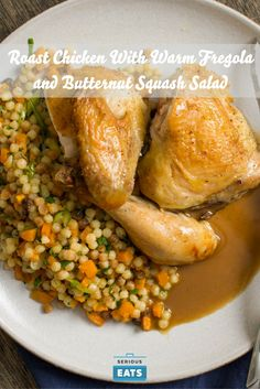 Welcome fall with a roast chicken and a simple butternut squash and pasta side…