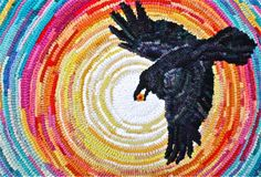 Detail of raven in Raven Brings the Light designed and hooked by Linda Stafford