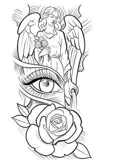 Chest Tattoo Stencils, Half Sleeve Tattoo Stencils, Half Sleeve Tattoos Drawings, Forearm Sleeve Tattoos, Best Sleeve Tattoos, Angel Tattoo Drawings, Angel Sleeve Tattoo, Tattoos Of Angels, Chest Tattoo Sketches