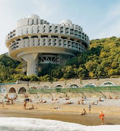 Soviet Brutalism on the beach. this  a great solution to provide each a room…