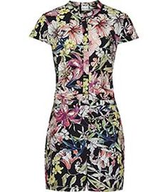 Womens Black Printed Playsuit - Reiss Laurelli