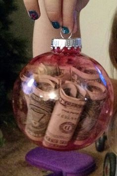 Fun way to give money. Did thus for our nieces and nephew for christmas.Fun way to give money. Did thus for our nieces and nephew for christmas. Source by Christmas Projects, Holiday Crafts, Christmas Holidays, Christmas Bulbs, Holiday Fun, Christmas Decorations, Christmas Gifts For Nephews, Christmas Stockings, Christmas Ideas