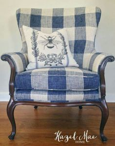 Buffalo Check Chair {by Hazel Mae Home} French Country Bedrooms, French Country Living Room, French Country Decorating, Country French, French Blue, Country Style, Farmhouse Style, Chair Upholstery, Upholstered Furniture