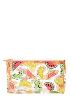 A clear makeup bag featuring an allover watermelon, lemon, grapefruit, and lime print and a top zip.