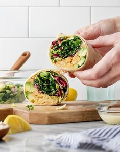 These healthy sandwich wraps are a perfect meal prep lunch! Filled with veggies, avocado, and a quick chickpea salad, they're easy and delicious.