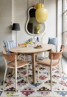 swedish kilim vintage lighting and chairs at howe london | via coco kelley