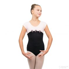 Lt. Pink/Black dance ballet leotard made from Polycotton with danglebeads and ribbon trim. 96%Cotton, 4%Spandex. Sizes: TOT, SC, INT, MC, LC