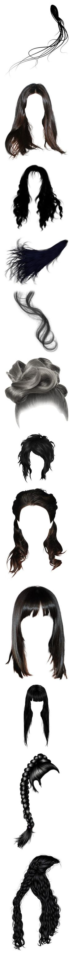 """""""doll hair black"""" by shadow-dancer-artist ❤ liked on Polyvore featuring hair, wig, doll parts, dolls, doll hair, hairstyles, backgrounds, wigs, dolls parts hair and head"""