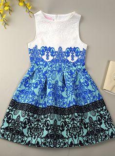 Blue printing dress