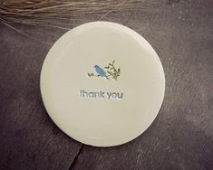 Blue Bird Ring Holder Thank You Plate Little Bird by Ceraminic