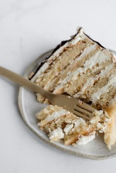 Fig and Almond Layer Cake — Butter and Brioche. Not so sure I'd use figs (or flavor the buttercream orange). Still, a very nice idea worth experimenting with. Just Desserts, Delicious Desserts, Dessert Recipes, Yummy Food, Tasty, Almond Cake Recipes, Coconut Cakes, Lemon Cakes, Healthy Desserts