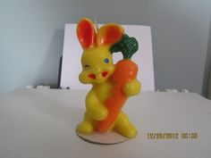 Vintage Gurley Candle Yellow Easter Rabbit Bunny New 5   eBay, still have this one and put out every easter. from the 50's