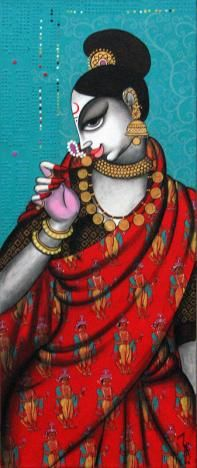 Indian Art Guru :: Rhythmic 2 Indian Art Paintings, Great Paintings, Old Paintings, Colorful Paintings, Mural Painting, Woman Painting, Figure Painting, Indian Folk Art, Indian Artist