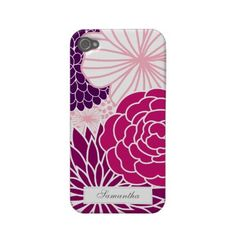 Pink and Purple Mod Floral Custom Case for the iPhone 4/4S