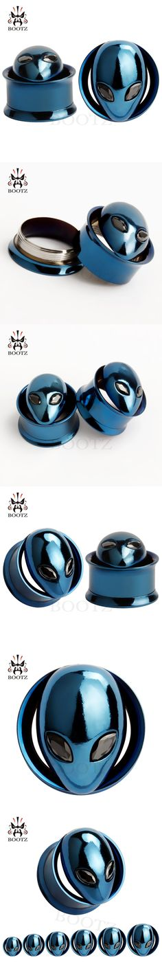 copper alice logo stainless steel ear plugs screw ear tunnels blue gauges piercing body jewelry 2pcs pair selling.