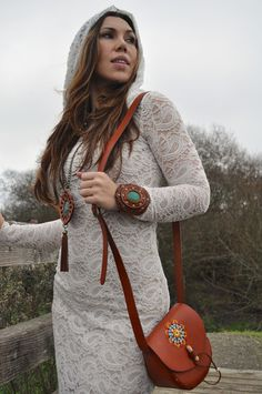 Sacred Empire Handmade Long Sleeve Lace Hoodie Dress with Karen Kell Leather Accessories.  www.shopsacredempire.com