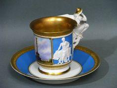 KPM Berlin Prunk Ansichten Tasse mit Untertasse cup and saucer um 1870
