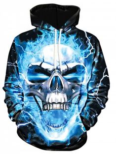cdf81b8a3 Lightning Skull Print Pullover Hoodie - BLACK XL Cheap Hoodies, Cool Hoodies,  Cool Coats