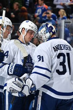 EDMONTON, AB - NOVEMBER 29: Auston Matthews #34 and Frederik Andersen #31 of the Toronto Maple Leafs celebrate after winning the game against the Edmonton Oilers on November 29, 2016 at Rogers Place in Edmonton, Alberta, Canada. (Photo by Andy Devlin/NHLI via Getty Images)