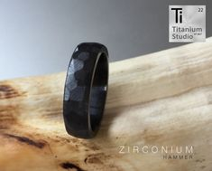 Black Zirconium men's ring with hammered finish. Stackable Diamond Rings, Baguette Diamond Rings, Round Diamond Ring, Round Diamonds, Titanium Rings, Rings For Men, Fine Jewelry, Pure Products, Black Men